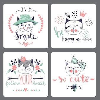 かわいいファッション猫とベクトルカードシリーズ。スタイリッシュな子猫セット。スケッチ風tシャツプリント、カード、ポスターのトレンディなイラスト。落書きキティ。子供の動物。面白いキャラクター。