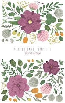 Векторные карты шаблон с цветочными элементами. дизайн с цветами
