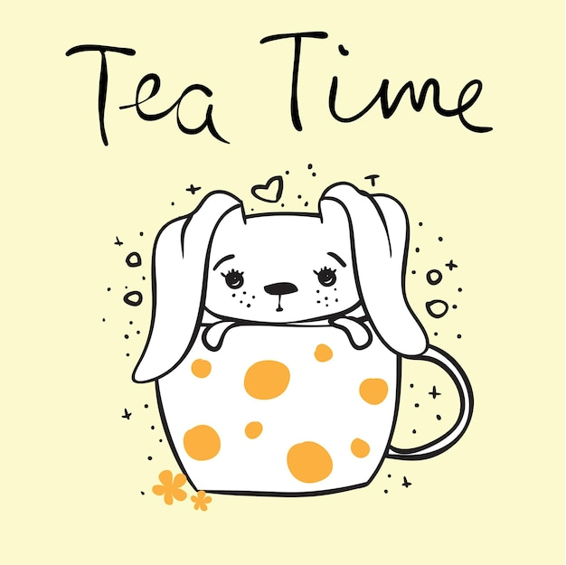 Vector card with cute rabbit in the cup and hand drawn text - tea time