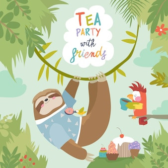 Vector card with cute sloth and little parrot