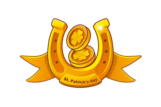 Vector card with a gold horseshoe and coins with clover. saint patricks day banner illustration.