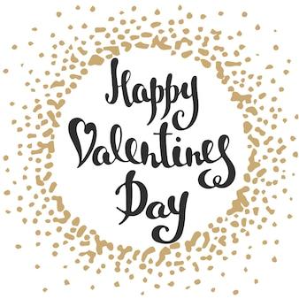 인사말 카드, 장식, 지문 및 포스터를 위한 손으로 그린 독특한 타이포그래피 디자인 요소가 있는 벡터 카드. 해피 발렌타인 데이, 스플래시가 있는 현대적인 잉크 브러시 서예. 손으로 쓴 글자.
