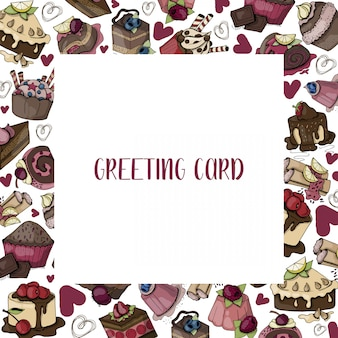 Vector card with sweet food, cakes, muffins