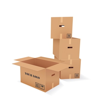 Vector cardboard boxes