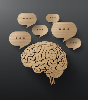 Vector cardboard  of brain