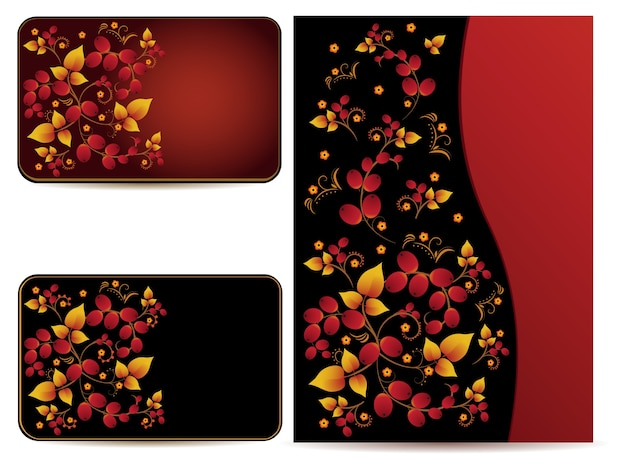 Vector cards and folder with hohloma pattern. cards and folders with ornament in style of russian national tradition.