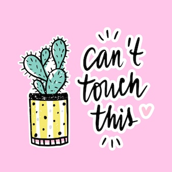 Vector cards with cactus and positive phrase.