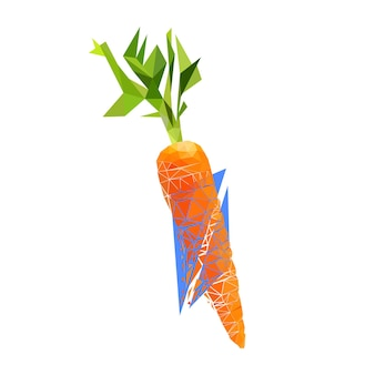 Vector carrot in low poly style. digital art