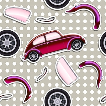 Vector cars seamless background for boys kid
