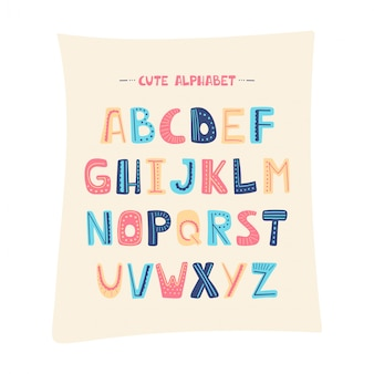 Vector cartoon alphabet for kids. upper letters with dotted line. cute abc design