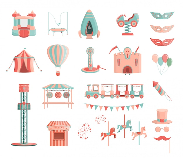 Vector cartoon amusement park rides icon set.