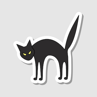 벡터 만화 화난 고양이 스티커 할로윈 문자 장식 윤곽이 검은 고양이