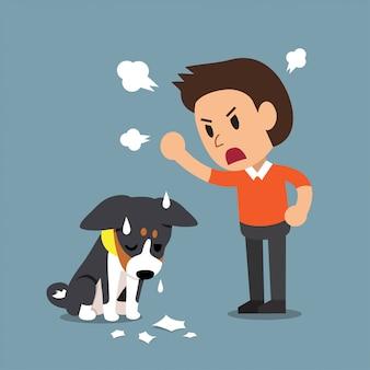 Vector cartoon angry man and dog