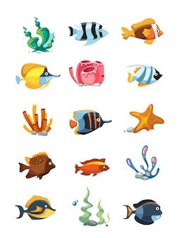 Vector cartoon aquarium decor objects