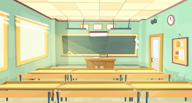 Vector cartoon background. empty school classroom