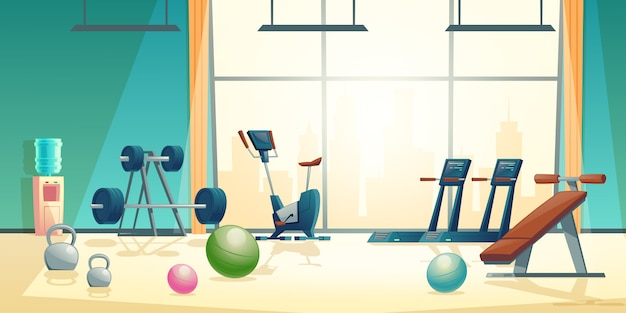 Vector cartoon background of gym with big window