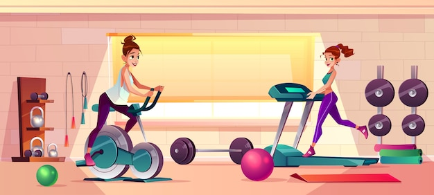 Vector cartoon background of gym with girls doing fitness