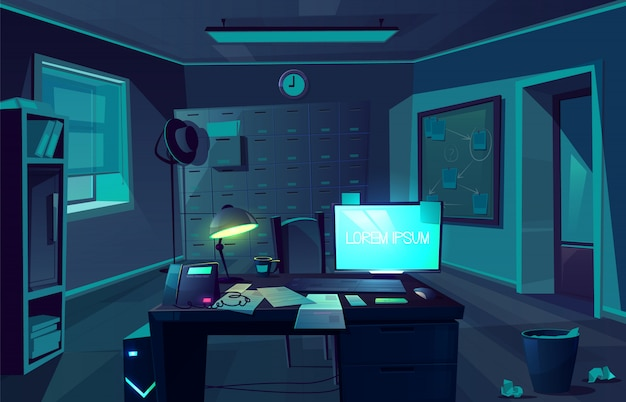 警察署や私立探偵で残業のベクトル漫画背景。クライアント、机、コンピューター、椅子付きの夜間、暗い部屋。調査用キャビネットの内部。窓からの月明かり