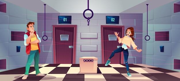 Векторный мультфильм фон квест комнаты с людьми