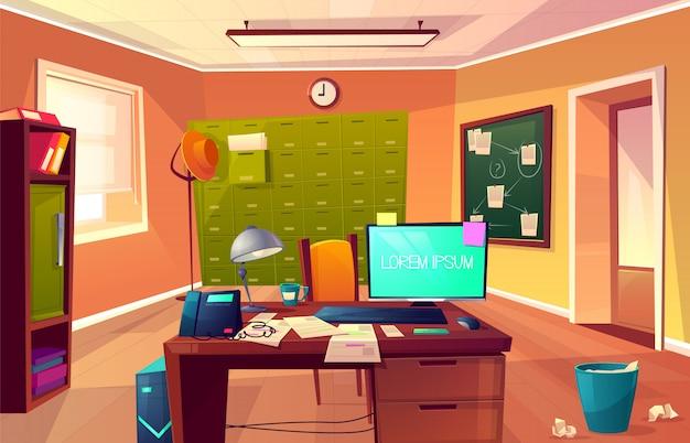 Векторный мультфильм фон рабочего места частного детектива или полицейского.