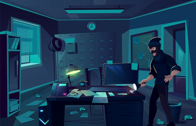 Vector cartoon background of robbery in police department or cabinet of private detective.