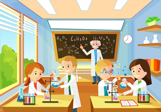 Vector cartoon background with chemistry classroom