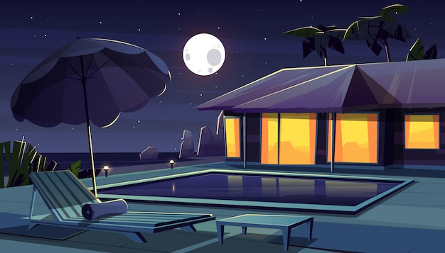 Vector cartoon background with hotel at night.