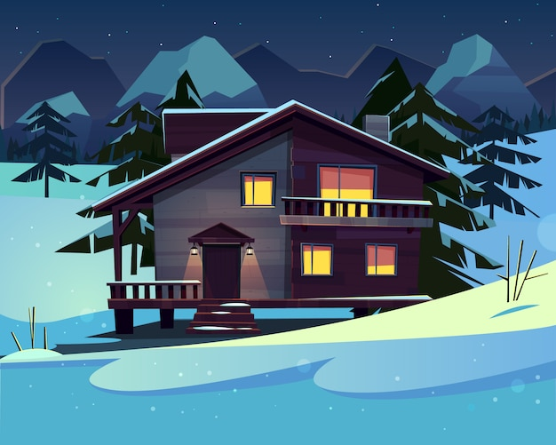 Vector cartoon background with a luxury hotel in snowy mountains at night.