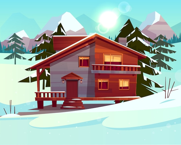 Vector cartoon background with a luxury hotel in snowy mountains