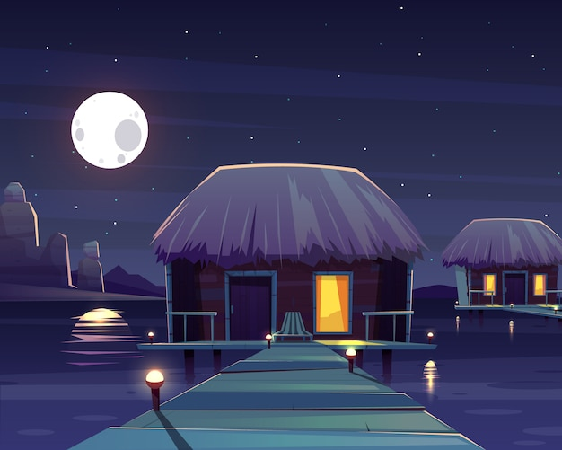 Vector cartoon background with rich hotel on piles at night.