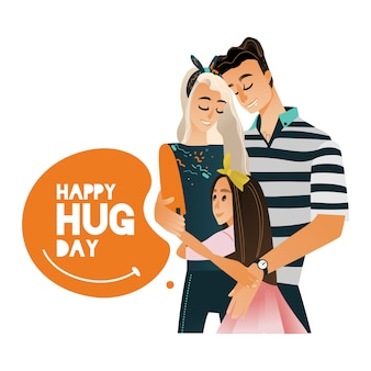 Vector cartoon big family character hugging winter