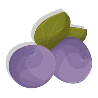 葉を持つベクトル漫画ブルーベリー。白い背景で隔離。あなたのデザインのアイコン。パターン、バッジ、ラベル、テキスタイルなど