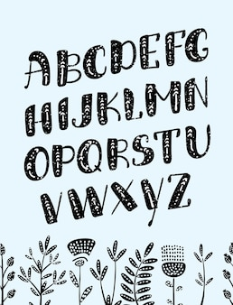 ベクトル漫画自由奔放に生きるカラフルなわずかにアルファベット。民族の文字と矢印をベクトルします。あなたのデザインのための花で飾られた暗い背景のキュートで面白いabc大文字。