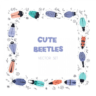 Vector cartoon bugs or beetles, square frame
