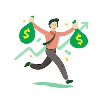 Vector cartoon businessman holding money bags