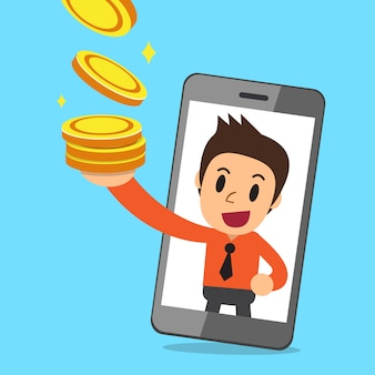 Vector cartoon businessman and smartphone earning money