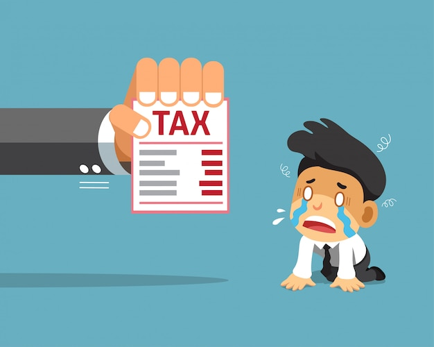 Vector cartoon businessman and tax