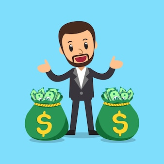 Vector cartoon businessman with money bags