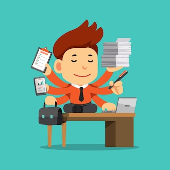 Vector cartoon businessman with multi tasking