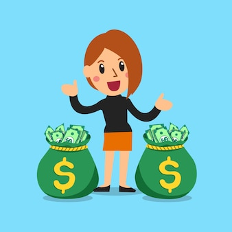 Vector cartoon businesswoman with money bags