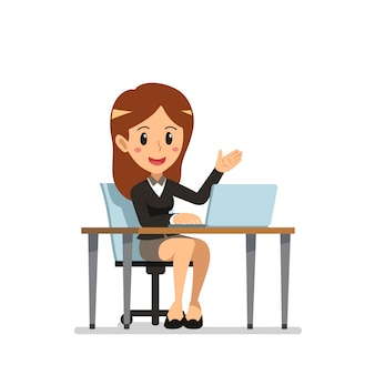 Vector cartoon businesswoman at work