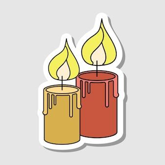 Vector cartoon candle sticker isolated magic burn item for halloween decor
