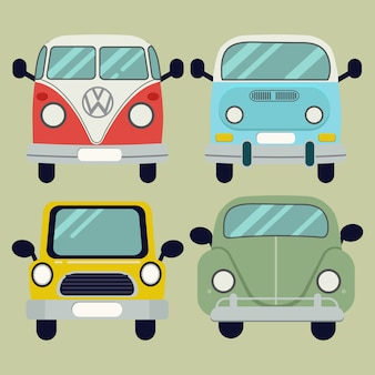 Vector cartoon car pack set