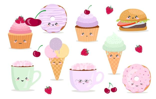 面白い食べ物のキャラクターのイラストとベクトル漫画カード