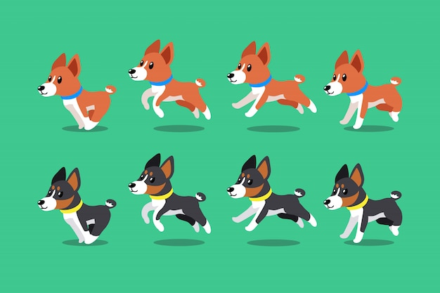 Vector cartoon character basenji dogs running step