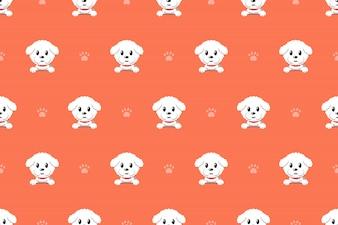 Векторный мультфильм характер бишон фризе собака бесшовные модели