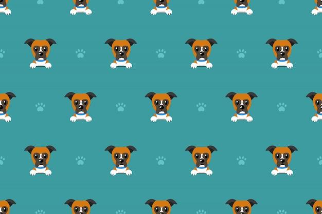 Vector cartoon character boxer dog seamless pattern