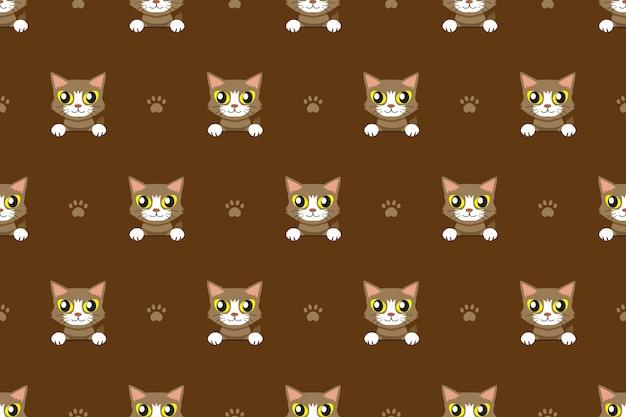 ベクトル漫画のキャラクター茶色猫のシームレスパターン