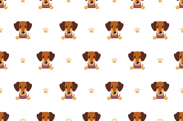 Vector cartoon character brown dachshund dog seamless pattern