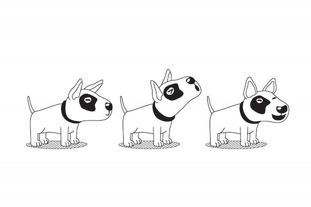 Vector cartoon character bull terrier dog poses